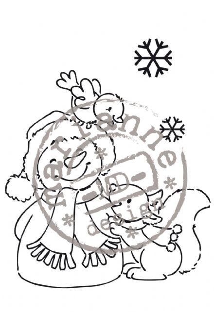 EC0135 ~ Snowman ~ ELINE'S CHRISTMAS ~ Marianne Designs Clear stamp